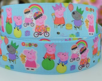 Pretty,special sky blue 100% polyester  grosgrain ribbon with peppa George and  friends on their adventures printed on.