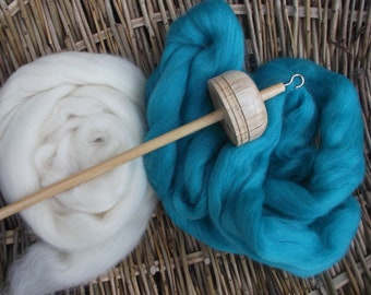Drop Spindles and Spindle kits Cerulean Blue and Cream