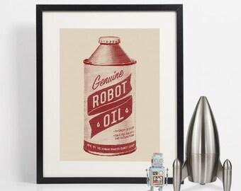 Retro Robot Oil Can, Robot Art, Vintage Oil Can, Home Decor