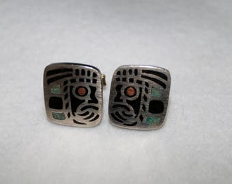 Vintage Sterling Silver Mexico Black Onyx Inlaid Cuff Links Aztec Warrior