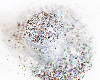Glow in the Dark Glitter - Silver Starstruck loose shimmer chunky perfect for festivals
