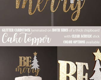 BE merry cake topper with christmas tree, winter wonderland, christmas cake topper, glitter party decorations