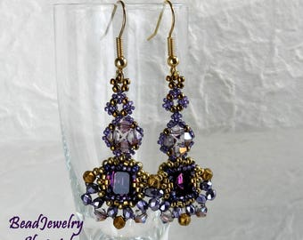 Beveled  Swarovski Crystal Dangling Earrings