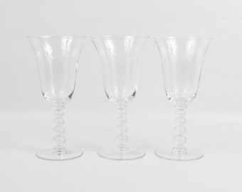 1936-1984 Imperial Glass Co. Candlewick Clear Crystal Water Glasses. Near Mint. Five Ball Stem, Beautifully Fluted Tops.