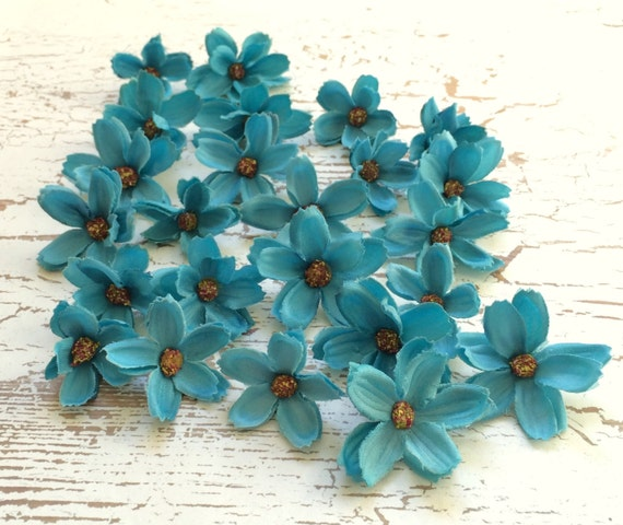 24 artificial baby cosmos in turquoise blue tiny flowers 24 artificial baby cosmos in turquoise blue tiny flowers artificial flowers silk flowers flower crown hair accessories millinery from blissfulsilks mightylinksfo