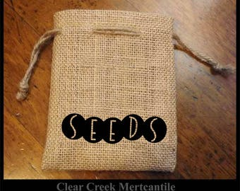 Burlap Garden Bags - Seeds, Bunny, Flower, Parsley, Sage, Rosemary, Thyme, Dill