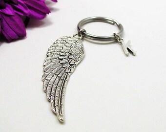 Silver Wing Keychain - Custom Keychain - Initial Keychain - Personalized Keychain - Initial Key Ring - Personalized Gift - Angel Wing Charm