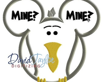 Mickey Head - Finding Nemo - Mine Mine Bird - Embroidery Machine Design - Applique - Instant Download - David Taylor Digitizing