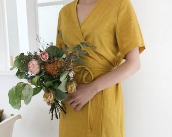 Linen summer wrap dress - Kimono linen dress - summer linen dress - romantic linen wrap dress - plus size dress - Yellow linen dress