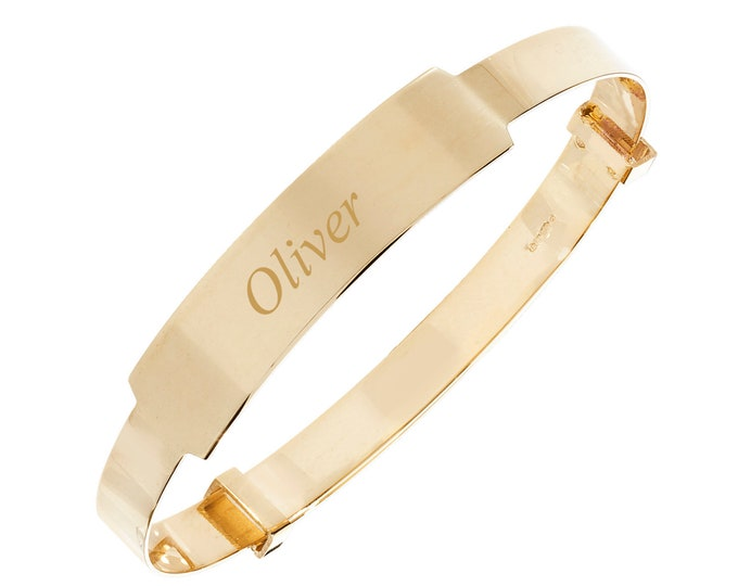 9ct Gold Expandable 4mm Plain Baby ID Bangle - Personalised Name & Message