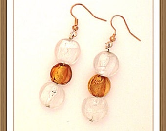 Handmade MWL brautiful venetian glass dangle earrings. 0146