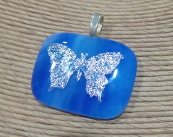 Butterfly Necklace, Blue Fused Glass Pendant, Blue Omega Slide, Silver Butterfly Jewelry, Ready to Ship, Glass Fuse - Silver Wings -3693-2