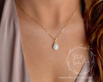 Delicate gemstone necklace, opal teardrop necklace, moonstone necklace, layering necklace, gemstone pendant necklace, gold necklace