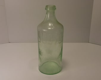Vintage MIOJ Scotch Bottle - Green glass, Ground Glass Top, Engraved, Asian, Japan, Occupied Japan - 1946-1952 time period, WW2