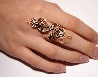 boho ring, copper ring, wire wrapped ring, bohemian ring, wire jewelry, adjustable ring, copper jewelry, wire wrapped jewelry handmade