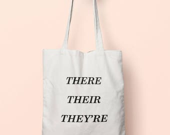 There Their They're Tote Bag Long Handles TB0249