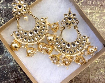 Jhumka, Indian Earrings, Ethnic Jewelry, Jhumki,Kundan Earring, Fashion Jhumki,Bollywood Earrings,Indian Earrings, Polki USA