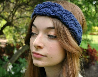 Crochet Celtic Knot Ear Warmer in {Midnight Blue}