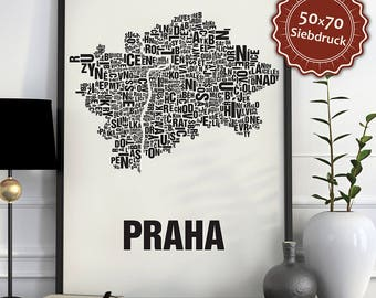 Prague / Praha Typographic Map Screen Print