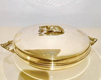 Oven Serving Plate,  Silver Plated, with Lobster on Top and Lobsters Claws Anses, Silver serving Plate, Seafood Plate, Lobster Service