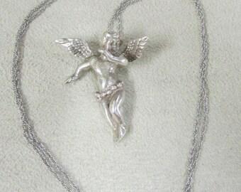 Sterling Silver Cherub Necklace