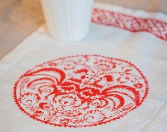White linen napkins, dinner napkins, flax napkins, dessert napkin, Appetizer Napkins, cocktail, Rooster, chicken, Russia, 11*19 (30*50 cm)