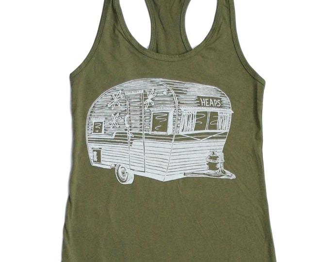 Womens Tank Top - Olive Green Tank Top - Travel Trailer Tank Top - Camping Tank Tops - Trailer Top - Camping Shirt - Travel Tank Tops