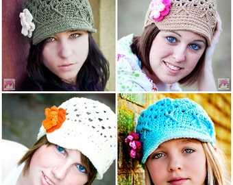Womens Newsboy with Flowers Choose Your Color, Custom Newsboy, Gifts for Her Womens Winter Hat, Teen Girls Hat, Crochet Newsboy, Newsboy Cap