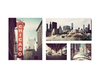 Chicago print set, Chicago artwork, pictures of Chicago, discounted set, set of 4, Illinois photography, Chicago photographs, wall art