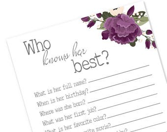 Who Knows Her Best Printable Shower Game | Who Knows the Bride Best Floral Bridal Shower | Plum Bridal Shower Decoration | Nora Collection