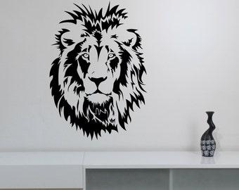 Lion Head Wall Sticker Vinyl Decal Safari Art Animal Decorations for Home Housewares Living Room Bedroom Office Decor ln13
