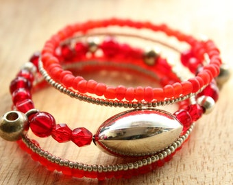 Red and silver colour glass bead memory wire bracelet