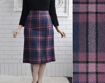 Vintage Blue and Purple Plaid Wool Blend Pencil Skirt Made in Hong Kong Size XS or Small