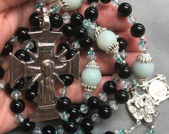 Unique Rosary Aquamarine Onyx Sterling Silver Hand-cast Ancient Crucifix Replica HeartFelt Rosaries OOAK  mans womans