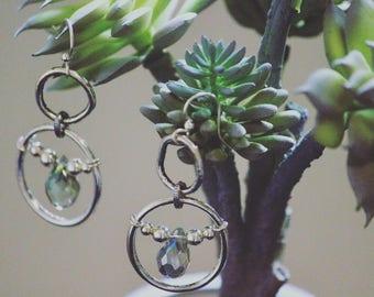 Silver bohemian swarovski hammered dangle earrings