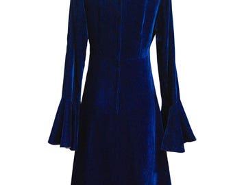 1960's Trumpet Sleeved Royal Blue Velvet Mini By Vicky Vaughn