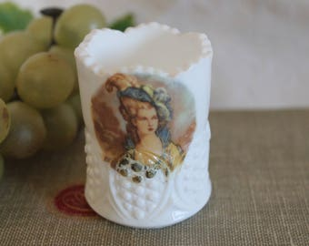 Beautiful Vintage White Milk Glass Toothpick Holder with Applied Portrait of Victorian Lady
