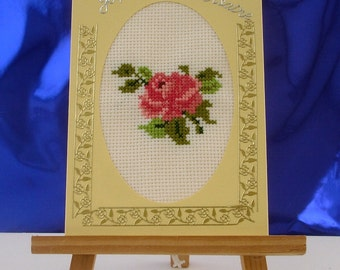 Happy birthday hand embroidered Rosebud