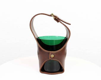 Vintage leather and glass ice bucket