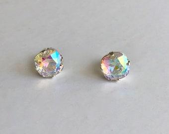 Swarovski Aurora Borealis AB Crystal Earrings Stud Earrings Silver Plated 10mm Cushion Cut Sterling Posts Rhinestone Earrings