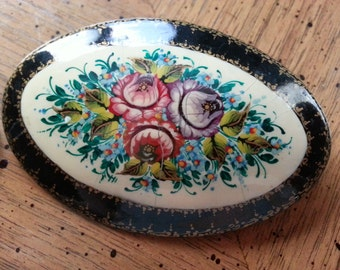 SALE Vintage Hand Painted Russian Pin or Brooch Flowers Oval Black Gold Trim Hand Painted Wooden