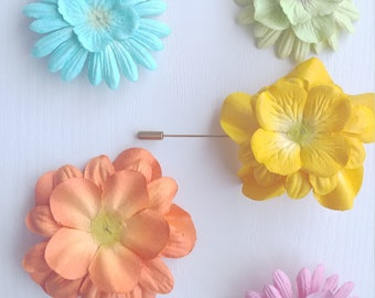 Pale Flower Lapel Pin Set