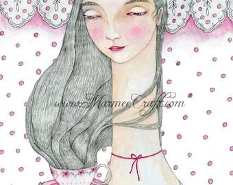 "MarmeeCraft tea girl art print, ""The Tea Server"""