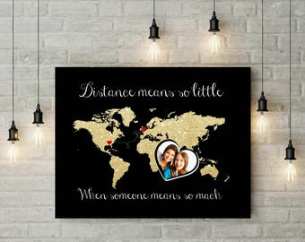 Best Friends World Map | Moving Away Gift | Graduation Gift Moving | Long Distance Friend Gift | Mothers Day Gift - 56977