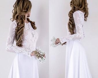 Modern Boho Wedding Dress, Long Sleeves Bridal Gown, Open Back Bridal Dress, Custom size
