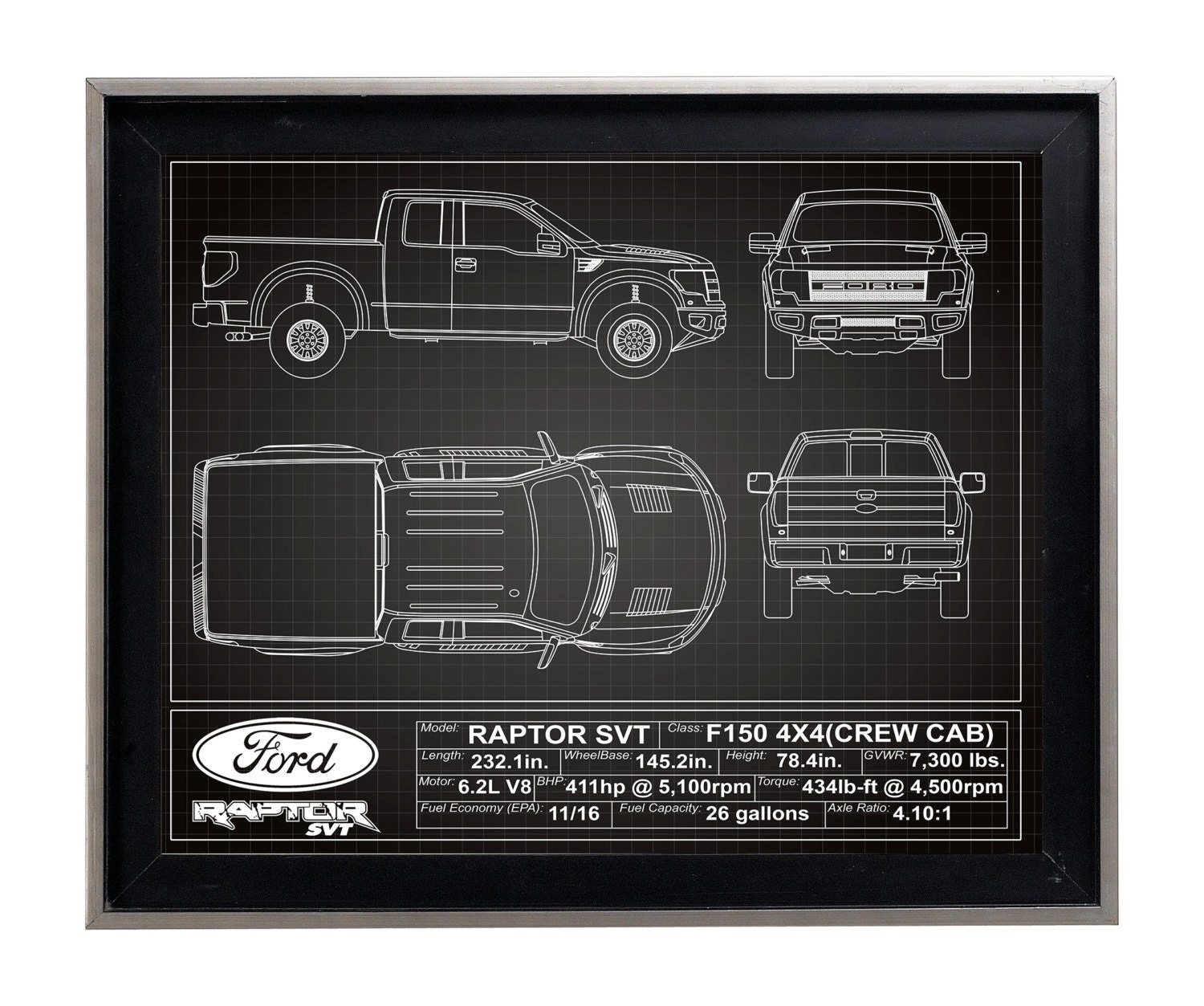 Ford F150 Raptor SVT Blueprint Poster Print Matt F-150