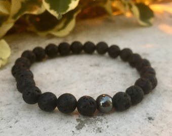 Hematite Gemstone And Lava Diffuser Bracelet, Aromatherapy Jewelry, Chakra jewelry, Healing Properties, Natural Remedy