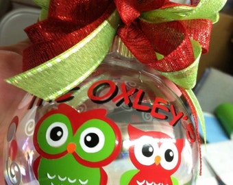 Owl Personalized Family Christmas Ornament