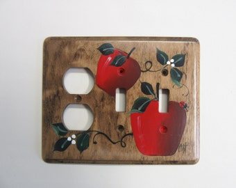 Outlet Double Switch  with  Red Apples  Country Kitchen