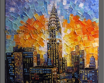 original oil painting,Chrysler building painting,New York city painting,impasto oil on canvas,30''  palette knife painting by Enxu.Zhou